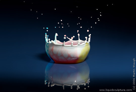 "Water Drop image called ""Rainbowl"", (c) 2011 Martin Waugh"
